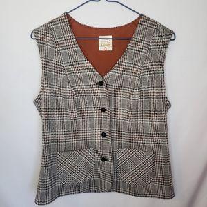 St Michael vest vintage brown plaid